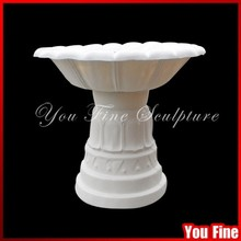 Pure handcarved white flower pot for cemetery