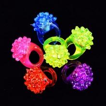 Flashing led party ring light up rings Soft Silicone glowing rave LED jelly bumpy ring