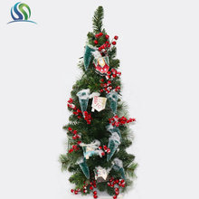 "36.5"" Christmas Decorative Tree With Colorful Ball and PVC Star and Mini House Pine Plant Artificial Holiday Ornament"