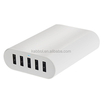 Kabbol 10Amp Strong 5Port USB Wall Home Travel Charger Accessory White for Cell Phones