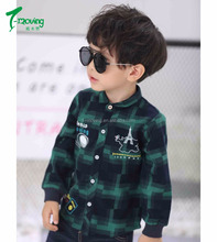 Children Winter Kids Plaid Polo Shirt 100% Cotton Long Sleeve Plaid Shirt Designd For Boys