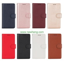 Hot Selling Pure Color Flip Pu Leather Wallet Stand Phone Case For iPhone X