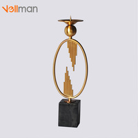 Creative Marble Iron Candlestick Romantic wedding Candle Stand Ornament