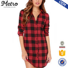 Long line women grid shirts black and red casual style 2016 Fashion