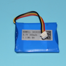 382835H 3.7v 300mah battery with barcode for UPS 3.7V high temperature lithium battery