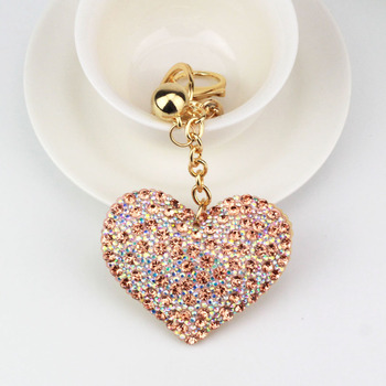 AP10168 romantic dazzling crystal rhinestone love heart key chain charm pendant fringe keyring key holder keychain