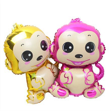 New design Cartoon ballon Helium foil Balloon gold&pink Monkey shape Animal Balloon Foil Balloon