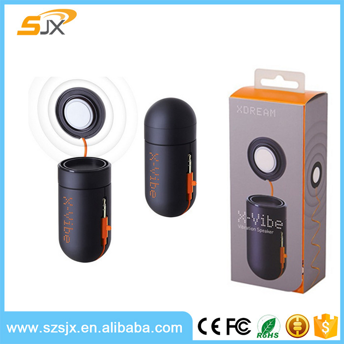 2016 hot selling mini portable vibration speaker,best for promotional gifts, rechargeable battery. white &black