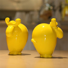 customized animals mini yellow cute cow resin craft for wholesale