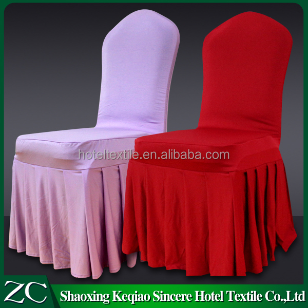 fancy purple and red pleated skirt chair cover lycra elastic hotel banquet chair cover for wedding