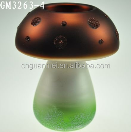colored decorative mushroom shaped glass crafts