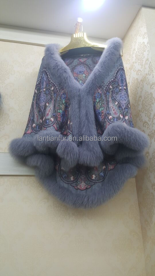 100% cashmere shawl/scarf with blue fox fur collar