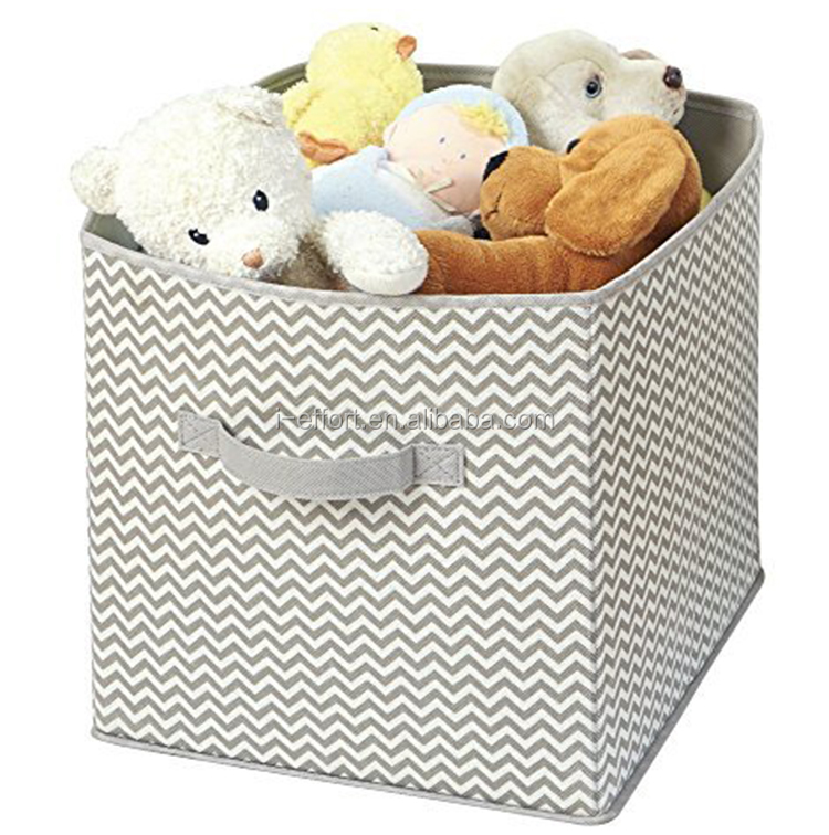 Printed foldable storage cube nylon woven storage basket bin