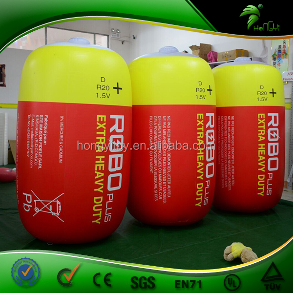 Cheap Inflatable Battery, Customized Inflatable PVC Replica, Inflatable Red Battery Model 1.5m High For Display