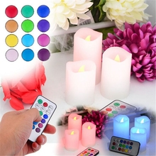 3 Pcs Wax Wireless Remote Control Color Changing LED Candle Flameless Candles