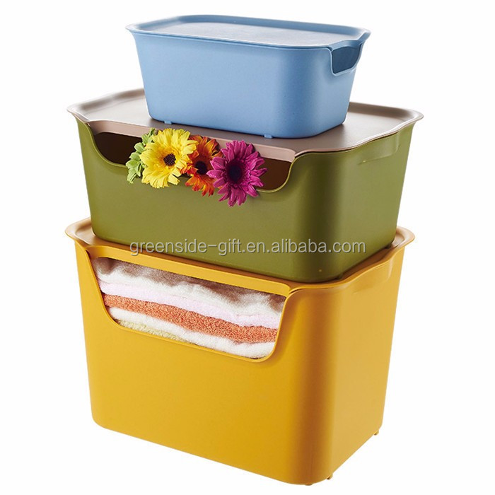 Greenside Wholesale high quality fashion colorful plastic storage box for clothes