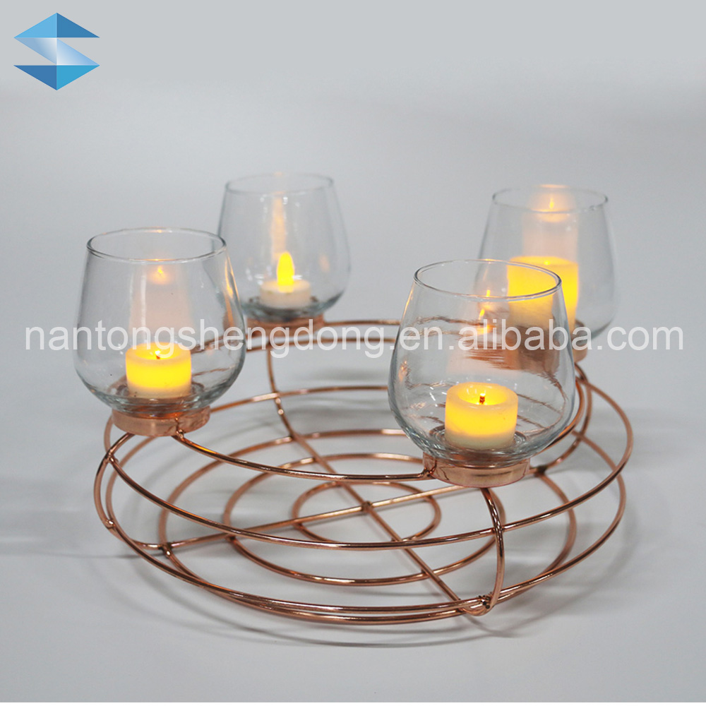 4 glass cup finest gold metal candle holder parts insert holders