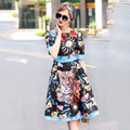 High Quality Short Dress/Summer Dress For Mature Woman/Fancy Printed Short