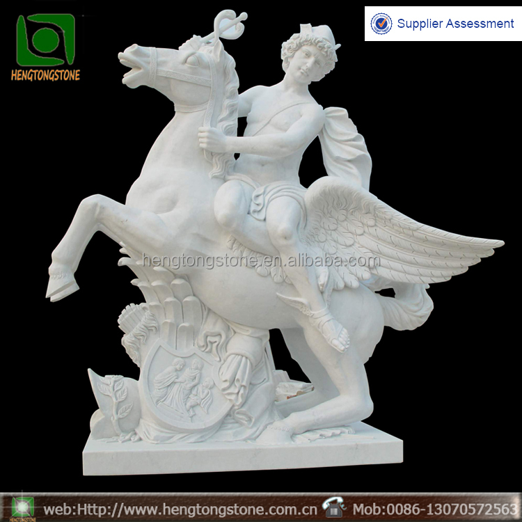 Roman style marble Mercury statue riding a horse sculpture
