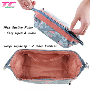 Portable Multifunctional Flamingo Pattern Waterproof Nylon Toiletry Bag Travel Makeup Organizer Case Bag With 2 Inner Pockets