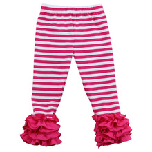new pants design for loose girls with red stripe clothing kids ruffle pants