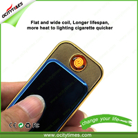 Excellent Gift Ocitytimes Slide Portable Electronic Cigarette Customized with logo printing Classical Metal Lighter