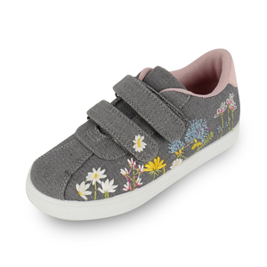 2018 New Design printed flowers Embroidery children Canvas Casual girls Shoes