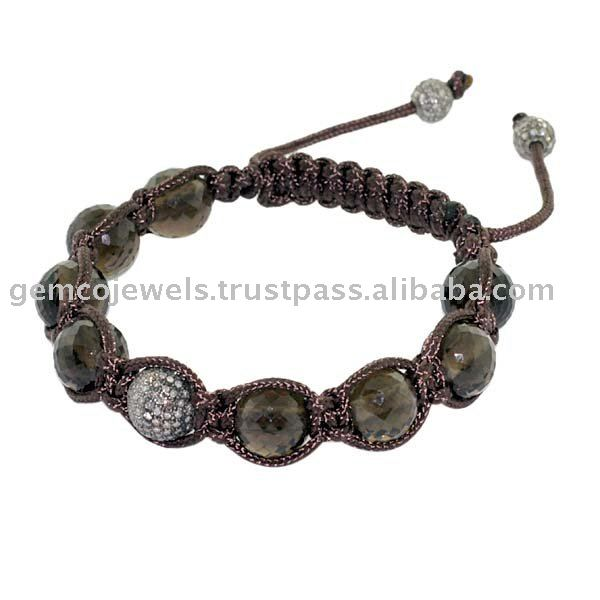 Silver Pave Diamond Macrame Bracelet, Gemstone Smoky Beads Shamballa Bracelet, Wholesale Supplier Fashion Macrame Bracelets