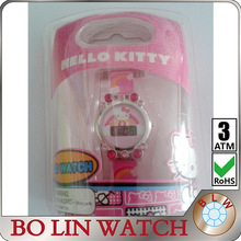 hello kitty watch, kids/children/metal case/silicon band/colorful stones/beautiful packing gift box/Disney Land promotion