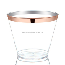 Hot Selling 100 Rose Gold Rim Disposable Plastic Cup PS Disposable Wedding Party Cocktail Cups
