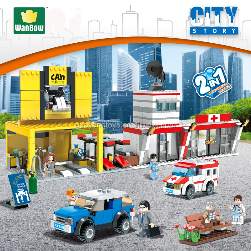 Hot new Electronic block toy city series Car repair center Central hospital building block games model kids toy