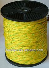 PE braid rope 16 strand yellow with green tracer