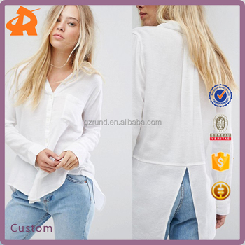 design your own polyester latest blouse designs,white back cut casual blouse for girls