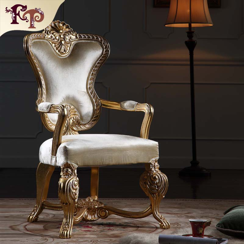 Italian Baroque dining room furniture wooden armchair dining <strong>chair</strong> with gold leaf gilding