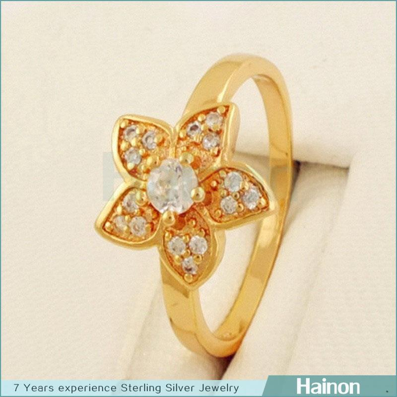gold flower ring paved AAA CZ diamond wholesale