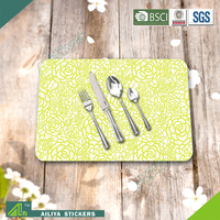Hot selling eco-friendly kitchen advertising colorful promotional printed plastic table mats