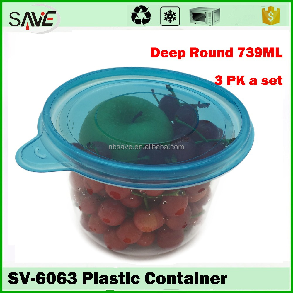 PP wholesale household items 739ML deep round leak proof transparent plastic fruit bowl
