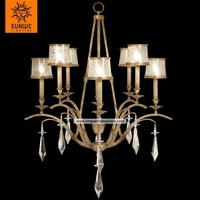 Transitional 8 lights Gold leaf finished Metal Two-tier crystal diamond drops for chandelier