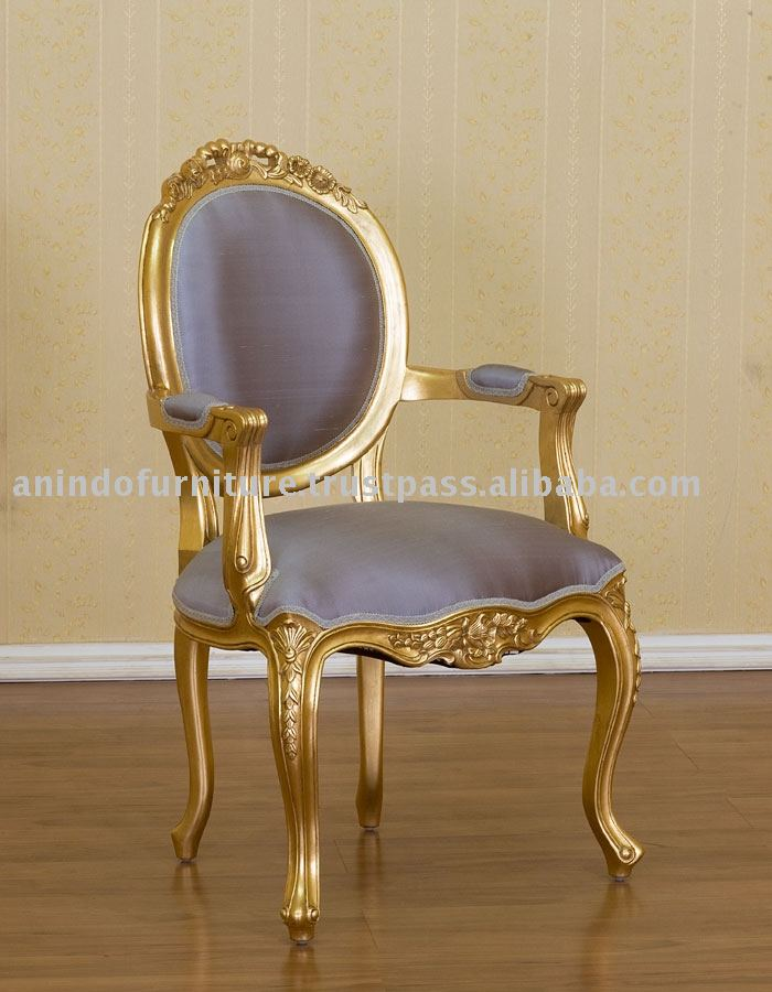 French Reproduction Chair - Gold Gilt Versailles Carved Arm Chair