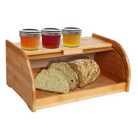 Exquisite Bamboo Sliding Lid Rolltop Bread Box With Storage Bin Manufacturer 2016