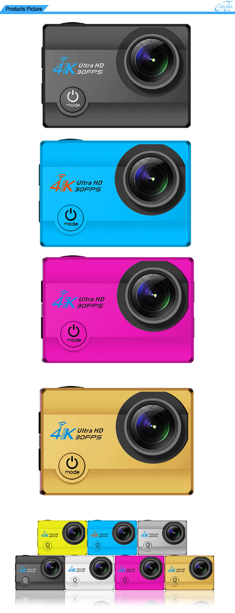 Hot Selling Allwinner V3 Chipest 30 Meter Waterproof 4K Ultra HD WiFi Action Camera