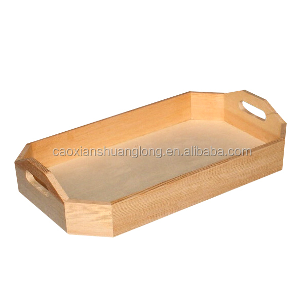solid wood rectangular natural color wooden tray with handle