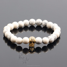 Wholesale Stone Bead Jewelry Zebra White Beads Bracelet With Skull