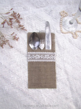 Wedding Burlap Linen Silverware Holders with White Lace, Rustic Table Decor Cutlery Holder