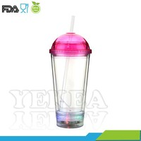 Blinking led light up drinking tumbler, LED light up flashing tumbler with dome lid and straw