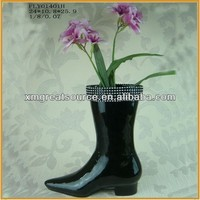 Chic decorative design black shoe flower vase