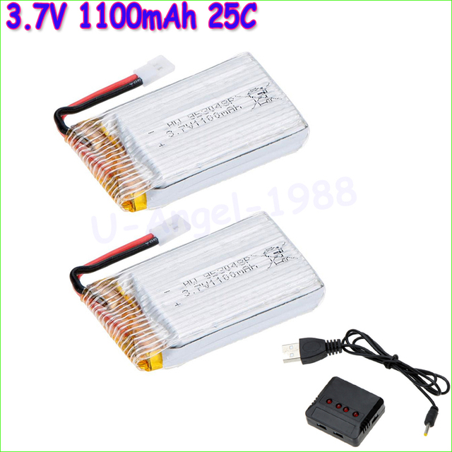 2pcs/lot 3.7V 1100mah 25C 1S VOLT 30C Lipo Battery Akku + X4 Charger For Syma X5SC X5SW RC Quadcopter Drone