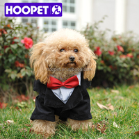 HOOPET gentle black attire with red bow tie high quality pet dog clothes shirts for sale