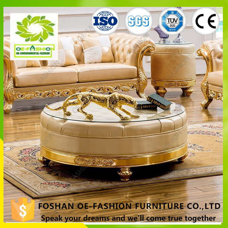 OE FASHION Gold Round Wooden living room Coffee <strong>Table</strong> design