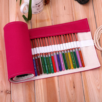 China Manufacturer 36 Holes Solid Color Rose Red Canvas Custom Pencil Bag